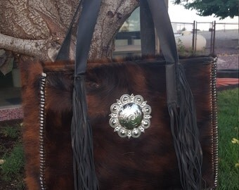 Cowhide Diaper Bag Tote Brindle Color w/ Large Concho & Swarovski * Ready to Ship*