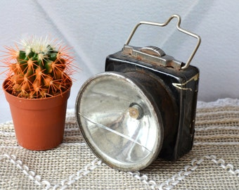 Vintage flashlight, military flashlight, black flashlight, Pocket lantern, collectible, gift for him, industrial decor,