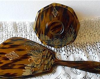 Vintage La Parisienne Faux Tortoise Shell Vanity Set