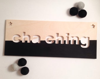 CHA CHING or KETCHING! Wafer in Russian birch, for door or wall for Etsy seller