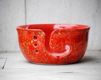Red Yarn Bowl, Knitting Bowl, large ceramic knitting bowl, yarn kepper