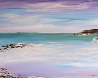 """Original Large SEASCAPE Abstract Modern Textured Acrylic Palette Knife Painting on Box Canvas, Ready to Hang canvas, home decor  40"""" x 16"""""""