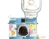 Wanderlust Camera - Watercolor Painting Print art piece, Photography home decor and wall art of camera