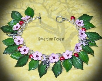 Cherry Blossom Flower Fairy Bracelet - Handmade Fairy Jewellery Inspired by the Fae, SIdhe, Pagan, Spring, Summer Flowers, with Clay Flowers
