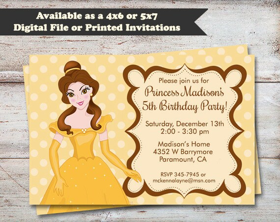 Princess belle birthday party invitations beuty and the beast party il570xn filmwisefo