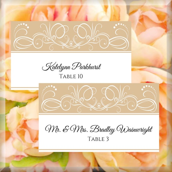 white champagne swirl printable flat place card editable