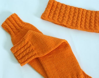 Leg Warmers for baby, Knit leg warmers, toddler girl leg warmers, orange leg warmers, knit headband and leg warmers set