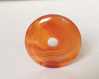 Orange doughnut shape pendant. Orange agate gemstone pendant.  Round Focal Bead. Ring shape pendant Chunky Pendant Large pendant