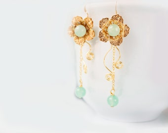 Chinese Fairytale Earrings, Gold and Jade Earrings, Gold Plated Dangle Earrings