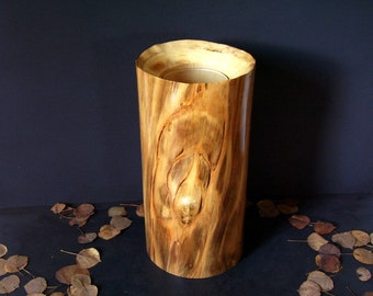 Aspen Wood Vase with Glass Insert Made in Colorado
