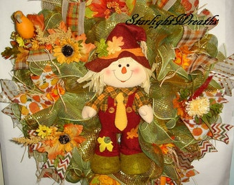 Moving Sale! - Fall Deco MeshWreath/Scarecrow Boy Deco Mesh Wreath/Autumn Wreath/Autumn Decor/Fall Decor/Scarecrow Wreath