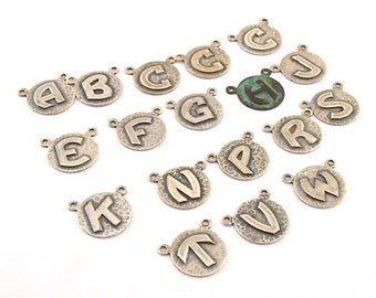 Ox Plated Letter Charms - Silver - Art Deco - 14mm