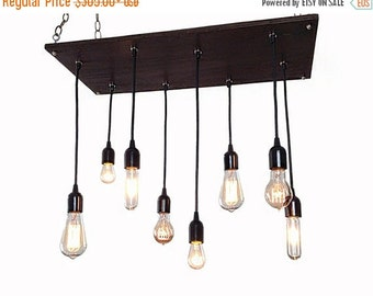 BIG SALE Edison Bulb Industrial Chandelier- Modern Chandelier, Urban Chandelier, Pendant Chandelier,Reclaimed Wood, Rustic Lighting, Ceiling