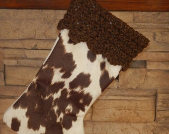 """FINAL MARKDOWN - Clearance 16"""" Handmade Faux Cow hide Christmas stocking with Handspun wool cuff"""