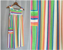 Neon Swim Dress Beach Striped Terry Cloth Vintage White Green Blue Pink Yellow Women's Small or Medium