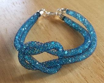 Blue knotted stardust bracelet-knotted bracelet-blue crystal jewellery