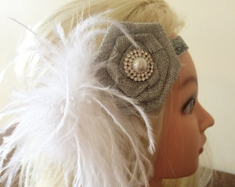 Silver Flapper Headband for Women - Feather Headband for 1920s Party - Silver Glitter Head Band - Flapper Headpiece for Bride