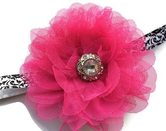Large Hot Pink Flower Headband Photo Prop - Black and White Damask Headband for Girls - Hot Pink Tulle Flower Head Band - Bling Headband