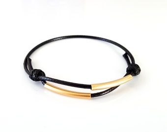 Black / Brown rope bracelet, gold tube. Adjustable Female jewelry. Gift idea for her