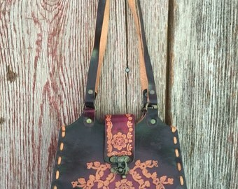 Small hand toiled leather purse shoulder bag brown