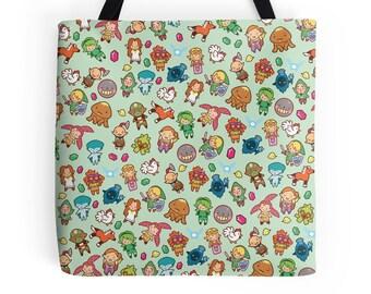 The Legend of Zelda Pattern ~ Ocarina of Time / Majora's Mask ~ Polyester Premium Tote Bag