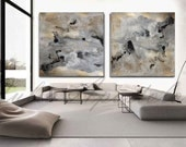 90x45inch, Abstract Watercolor Print, Gold Leaf Painting, Gold and Black Print, Watercolor Print Set, Extra Large Wall Art, Watercolor art