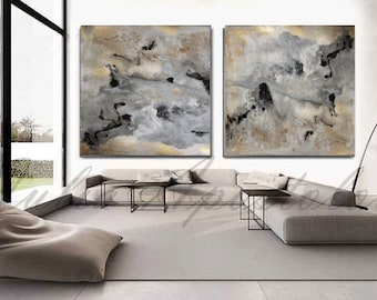 90x45inch, Abstract Watercolor Print, Gold Leaf Painting, Gold And Black  Print, Watercolor