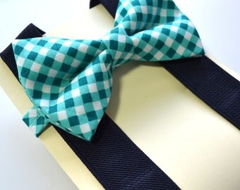 Teal Green Cross Check Bow tie And Navy Suspender Set !! for toddler/ boy/ baby/Teen/Adult/Men