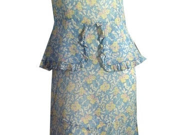 40% off vintage Pastel Floral Voile Cotton 1930s Dress Pink Blue Yellow Ruffles S
