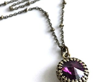 SUMMER SALE 25% OFF Long Purple Necklace, Round Small Crystal Amethyst Pendant, Antiqued Brass Chain, Vintage Style Jewelry