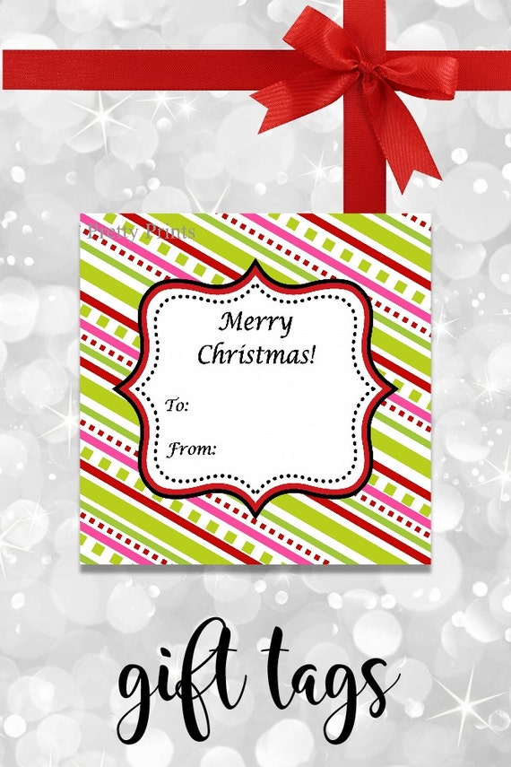 Colorful Stripes Christmas Gift Tags - Printable - Personalized Christmas Tags - Bright Gift Tags