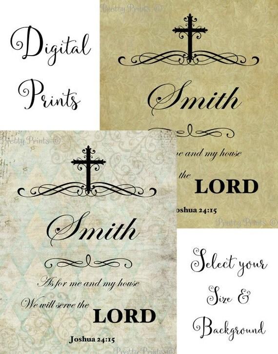 Personalized Scripture Art - Joshua 24:15 - Family Name - Digital Print - Cross
