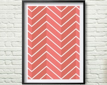 Abstract pattern print, Scandinavian Coral Chevron, Minimalist wall art, Scandinavian design, Home decor *46*