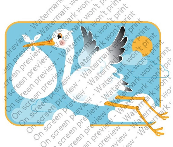 Stork & Baby - Edible Cake and Cupcake Topper For Birthday's and Parties! - D208