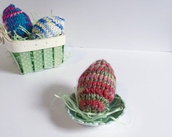 Set of 3 Knit Easter Egg Decorations - Rainbow 3D Easter Egg Decoration Sets