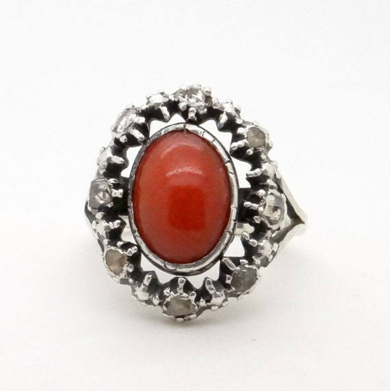 antique coral ring genuine coral and mine