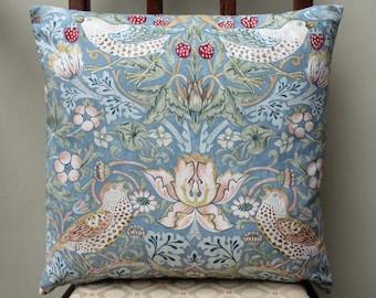 "William Morris Strawberry Thief Slate Cushion Cover 16"" x 16"" - Sanderson Fabric"