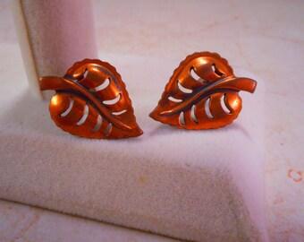 Vintage Copper Leaf Screw Back Earrings
