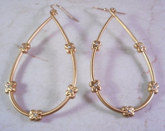 Gold Dangle Earrings with Clear Rhinestones