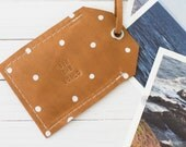 Brown Leather Polka Dot Luggage Travel Tag, Leather Travel Accessory, Cute Gift, Graduation Gift, Personalized Bag Tag