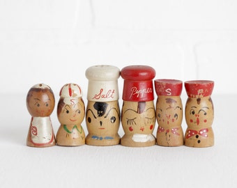 Vintage Wood Salt and Pepper Shakers, Lot of Hand Carved Faces and People, Three Pairs Made in Japan
