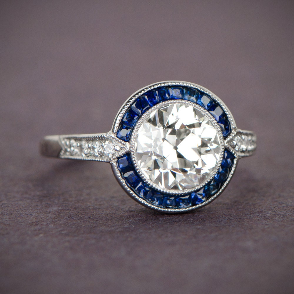 estate engagement ring vintage 1 88ct and sapphire