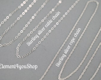 Sterling silver chain upgrade  - choice of cable or rope chain