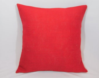 Custom made rustic country red burlap pillow cover/sham. Multiple sizes to choose from.