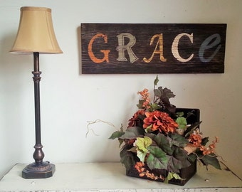 GRACE Reclaimed Wood Inspirational Rustic Sign