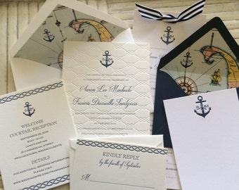 Completely Custom Letterpress Wedding Invitation Suite