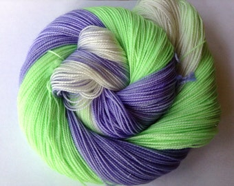 hand dyed yarn 4ply sock weight. sparkle,