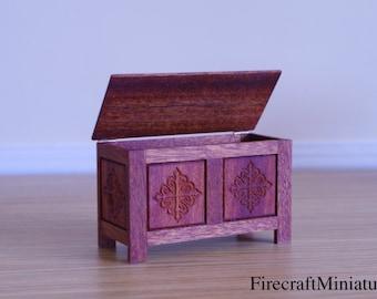 Miniature Dolls House Tudor Storage Box 1 / 12th Medieval Chest Storage Doll One Inch Wooden Box