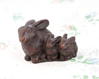 Brown Bunnnies - Celluloid Bunny Family Figure - Easter Rabbit ornament