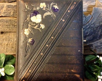Shabby Pansies From The 1800s – Gorgeous Small Antique Vintage Leather Bound Photo Album – Purple, White, Gold Pansies - Victorian Era